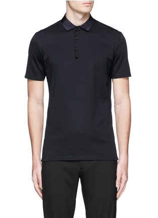 Main View - Click To Enlarge - Lanvin - Grosgrain collar polo shirt