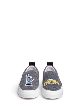 Front View - Click To Enlarge - Joshua Sanders - 'Big Apple' patch felt skate slip-ons