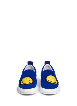 Front View - Click To Enlarge - Joshua Sanders - 'Smile' double face felt skate slip-ons
