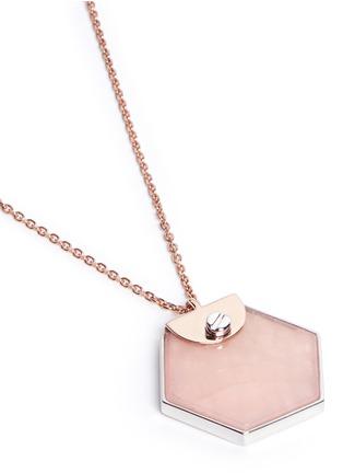 Detail View - Click To Enlarge - W.Britt - 'Hexagon' rose quartz pendant necklace
