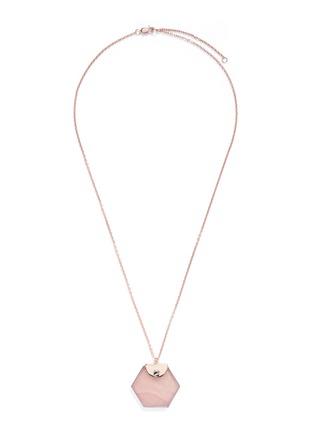 Main View - Click To Enlarge - W.Britt - 'Hexagon' rose quartz pendant necklace