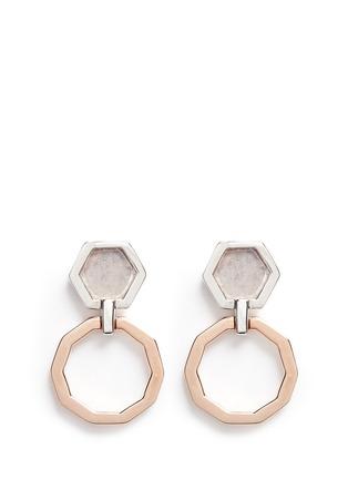 Detail View - Click To Enlarge - W.Britt - 'Mini Decagon' rose quartz stud earrings