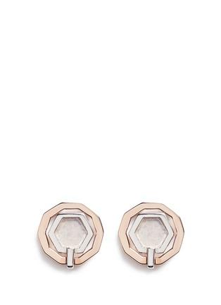 Main View - Click To Enlarge - W.Britt - 'Mini Decagon' rose quartz stud earrings