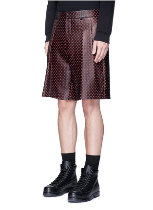 Front View - Click To Enlarge - Givenchy - Cross perforated leather Bermuda shorts