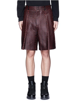 Main View - Click To Enlarge - Givenchy - Cross perforated leather Bermuda shorts