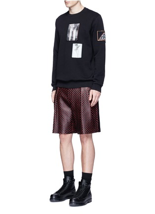 Figure View - Click To Enlarge - Givenchy - Cross perforated leather Bermuda shorts