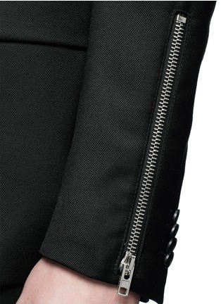 Detail View - Click To Enlarge - Givenchy - Zip cuff wool blend twill blazer