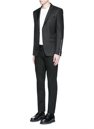 Figure View - Click To Enlarge - Givenchy - Zip cuff wool blend twill blazer