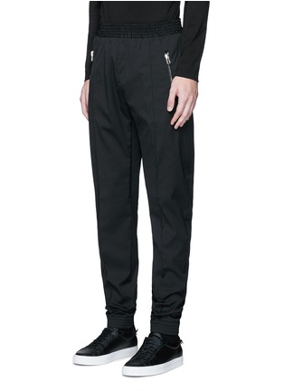 Front View - Click To Enlarge - Givenchy - Slim fit wool gabardine jogging pants