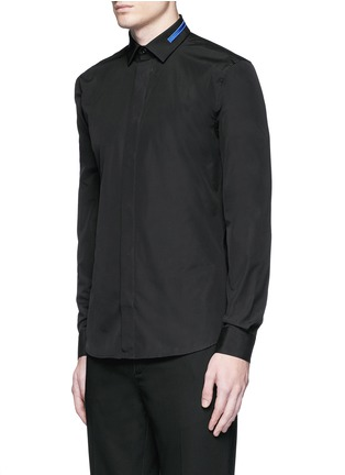 Front View - Click To Enlarge - Givenchy - Stripe collar cotton shirt