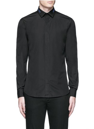 Main View - Click To Enlarge - Givenchy - Stripe collar cotton shirt