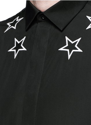 Detail View - Click To Enlarge - GIVENCHY - Star embroidery cotton shirt