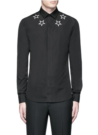 Main View - Click To Enlarge - GIVENCHY - Star embroidery cotton shirt