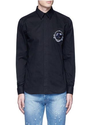 Main View - Click To Enlarge - Givenchy - Monkey badge patch cotton twill shirt