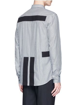 Back View - Click To Enlarge - GIVENCHY - Hopsack patch stripe shirt