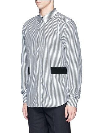 Front View - Click To Enlarge - GIVENCHY - Hopsack patch stripe shirt