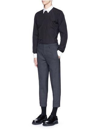 Figure View - Click To Enlarge - Givenchy - Star stud piqué trim poplin shirt