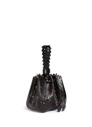 Figure View - Click To Enlarge - AZZEDINE ALAÏA - 'Vienne' small lasercut leather bucket bag