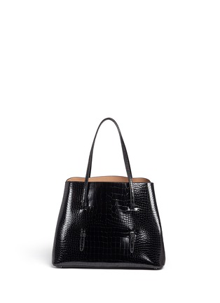 Back View - Click To Enlarge - Alaïa - Large croc embossed patent leather tote