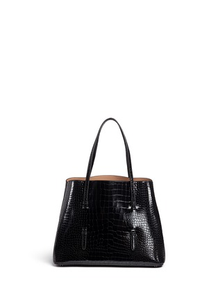 Main View - Click To Enlarge - Alaïa - Large croc embossed patent leather tote