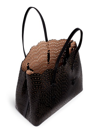 Detail View - Click To Enlarge - AZZEDINE ALAÏA - 'Vienne Vague' large lasercut leather tote