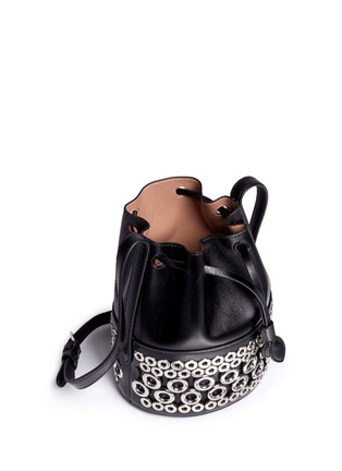 Detail View - Click To Enlarge - Alaïa - Eyelet leather bucket bag