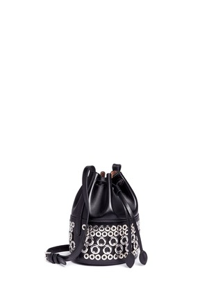 Figure View - Click To Enlarge - Alaïa - Eyelet leather bucket bag