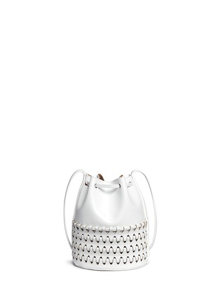 Back View - Click To Enlarge - Alaïa - 'Charniere' small woven base leather bucket bag