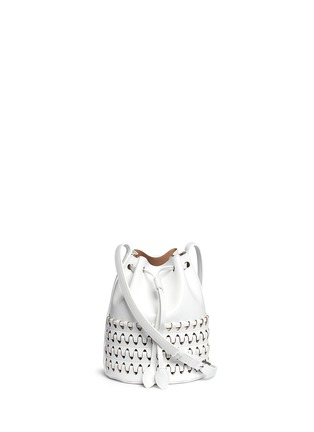 Main View - Click To Enlarge - Alaïa - 'Charniere' small woven base leather bucket bag