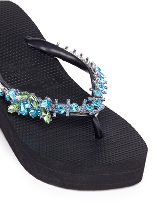 Detail View - Click To Enlarge - UZURII - 'Lily' crystal wedge flip flops