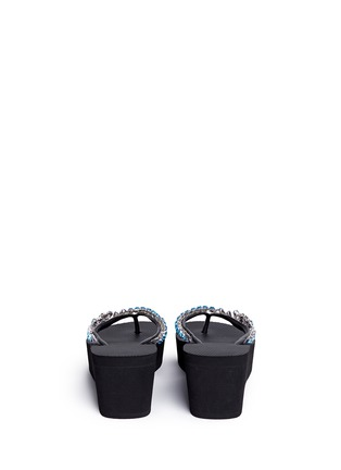 Back View - Click To Enlarge - UZURII - 'Lily' crystal wedge flip flops