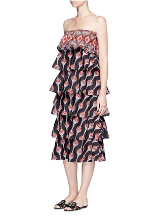Figure View - Click To Enlarge - 73199 - 'Margi' embroidered tiered poplin dress