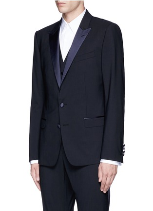 Front View - Click To Enlarge - - - 'Martini' satin trim wool-silk three piece tuxedo suit