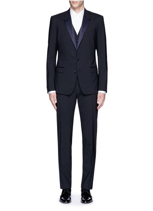 Main View - Click To Enlarge - - - 'Martini' satin trim wool-silk three piece tuxedo suit