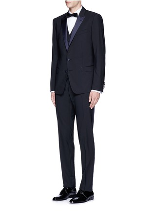 Figure View - Click To Enlarge - - - 'Martini' satin trim wool-silk three piece tuxedo suit