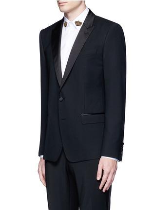 Front View - Click To Enlarge - - - 'Martini' satin trim wool-silk tuxedo blazer