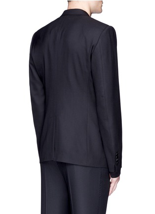 Back View - Click To Enlarge - - - Slim fit bee embroidery wool tuxedo blazer
