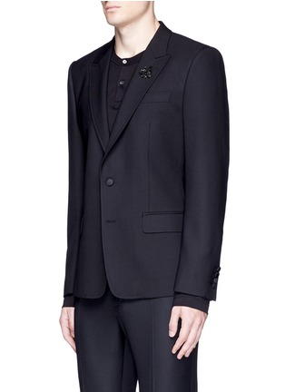Front View - Click To Enlarge - - - Slim fit bee embroidery wool tuxedo blazer