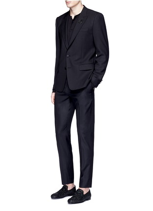 Figure View - Click To Enlarge - - - Slim fit bee embroidery wool tuxedo blazer