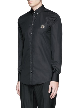 Front View - Click To Enlarge - Dolce & Gabbana - 'Gold' slim fit bee embroidery cotton shirt