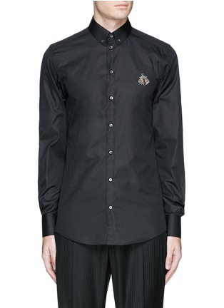 Main View - Click To Enlarge - Dolce & Gabbana - 'Gold' slim fit bee embroidery cotton shirt