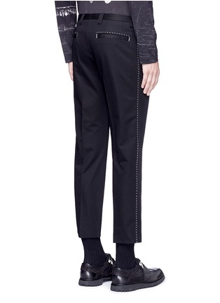Back View - Click To Enlarge - - - Slim fit contrast stitch cropped pants