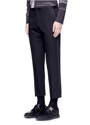 Front View - Click To Enlarge - - - Slim fit contrast stitch cropped pants