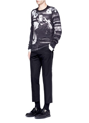 Figure View - Click To Enlarge - - - Slim fit contrast stitch cropped pants
