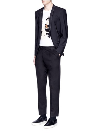Figure View - Click To Enlarge - - - Slim fit pleated cotton pants