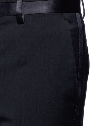Detail View - Click To Enlarge - - - Slim fit satin trim wool tuxedo pants