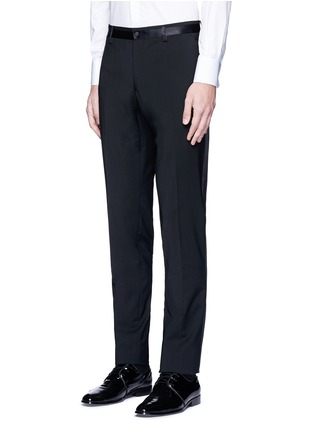 Front View - Click To Enlarge - - - Slim fit satin trim wool tuxedo pants