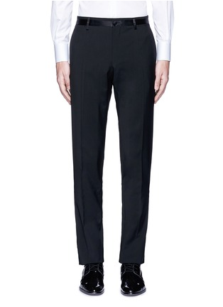 Main View - Click To Enlarge - - - Slim fit satin trim wool tuxedo pants