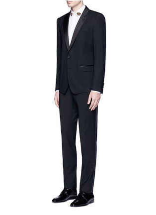 Figure View - Click To Enlarge - - - Slim fit satin trim wool tuxedo pants