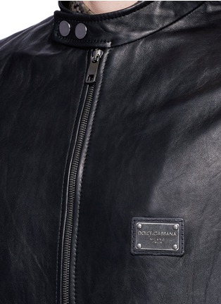 Detail View - Click To Enlarge - Dolce & Gabbana - Leather racer jacket